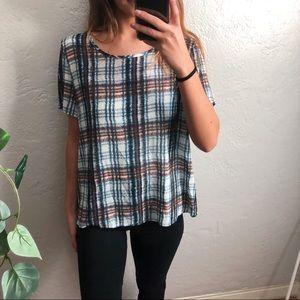 maeve anthro plaid blouse